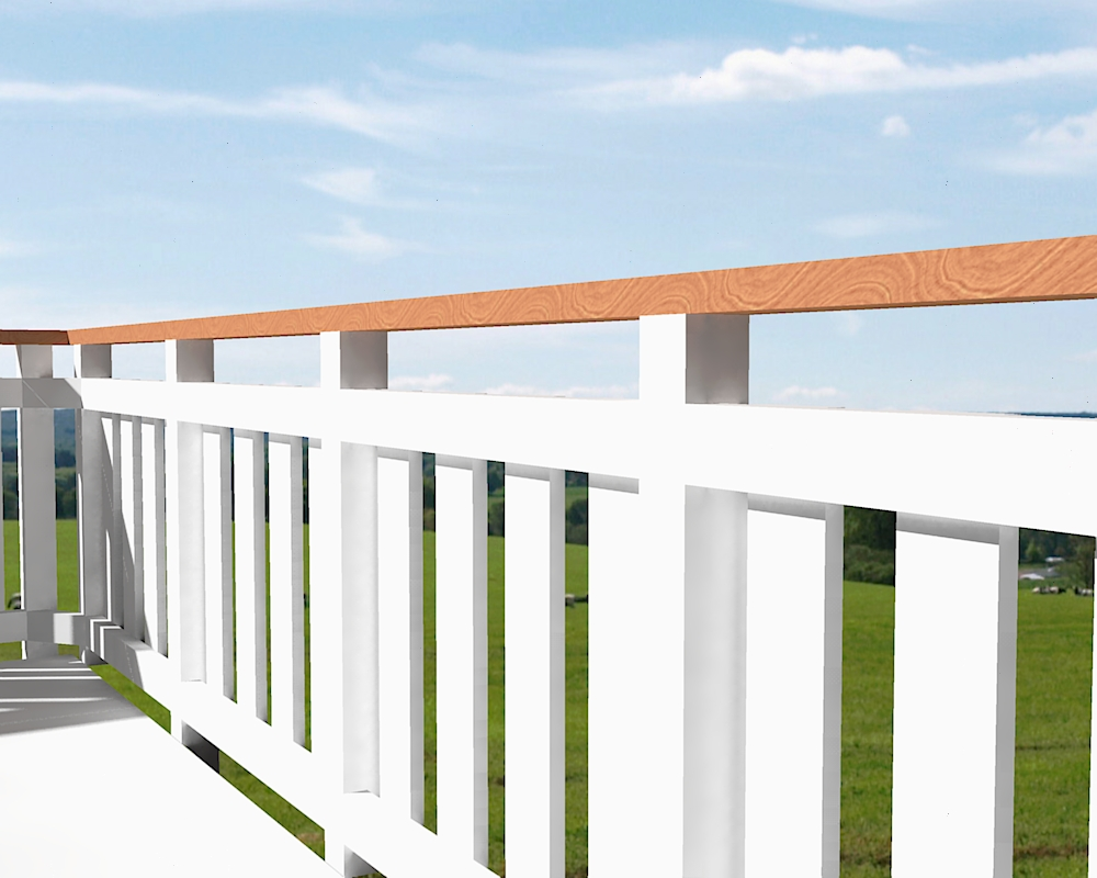 3 Timber 3604 White With Timber Top Rail Scene 6 High